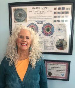 Iridology chart with iridologist Sunshine